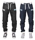 ENZO MENS CUFFED JEANS CASUAL DENIM REGULAR LEG JOGGER DESIGNER PANTS ALL SIZES