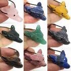 Natural  Mixed Gemstone Wolf Head Pendant Necklace Fashion Jewelry Stone Caving