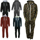 Unisex Mens Womens Hooded Zip Sleep Wear Playsuit Plain All One Piece Jumpsuit