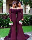 Mermaid Burgundy Long Sleeve Evening Prom Bridesmaid Dresses Lace Applique