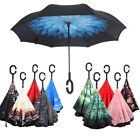 colored umbrellas - Windproof Handle Self Inverted Stand Folding Umbrella Double Layer Upside Down