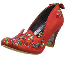 NEW IRREGULAR CHOICE *BLOOM BEAUTY* RED FLORAL EMBROIDERY MID HIGH HEELS-36/43