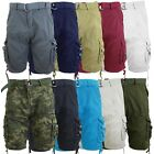 Mens Cotton Belted Cargo Shorts Vintage Distressed Lounge Sizes 30-48 NWT
