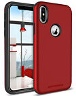 For iPhoneXS Case Slim Hybrid Hard PC Soft TPU Dual Layer Protective Cover Red