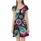 Sassy Paisley Short Sleeve Dress XS-5XL Flared