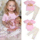 Little Big Sister Matching Clothes Kid T-shirt Baby Romper+Long Pants Outfit Set