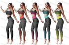 Ladies Crop Top & Legging Gym Wear Set Womens Fitness Workout Sports Clothes