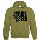 Ride & Seek, Mens Mountain Bike Hoodie, Gift for Dad Him