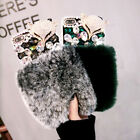 Handmade Luxury Bling Diamond Gems Crystal Fuzzy Rabbit Fur Phone Case Cover Hot