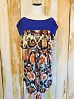 Soft Surroundings Shift Mini Dress Tunic Blue Boat Neck Batik Belt sz 3X NWOT!
