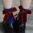 Cotton Socks Pure Color Quilted Stockings Women Soft Cute Velvet Bow Tie O9983