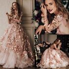 Rustic 3D-Floral Lace Blush Wedding Dresses Long Sleeve Sheer Bridal Gowns 2018