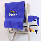Kids Personalised Digger Bath Towel, Embroidered, Add Name or Initials