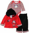 Duck Goose Baby Boys Zebra Sherpa Hooded Jacket Bodysuit 3Pc Pant Set