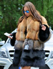 Luxury Natural Real Red Fox Fur Women Fashion Warm Coat Genuine Leather Outwear