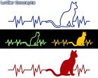 Cat Heartbeat Sticker - Kitten Vinyl Heart Beat Decal - Multiple Options! $4.99 USD on eBay