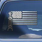 USA Oil Field Flag Decal Sticker -  Roughneck window decal oil hard hat sticker