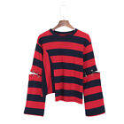 Alterable Sleeves Metal Ring Striped Tee Harajuku Style Tops Fashion Hot Sale