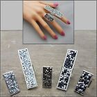 Large Rectangular Silver Adjustable Ring Druzy Rhinestone Crystal Coctail Party