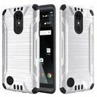 BRUSHED HYBRID SHOCKPROOF ARMOR COVER PHONE CASE FOR [LG ARISTO] +TEMPERED GLASS