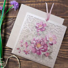 50 Metalic Wedding Invitations Laces Laser Cut Flower Pattern Day/Eve Free P*P