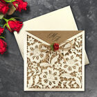 Gold Wedding Invitations Eco Rustic Laser Cut Twine & Rose Day/Eve Free P*P