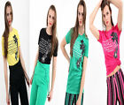 Womens Ladies Short Sleeves Manhattan Embroidered Print Crew Neck T Shirt Top