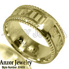 Men's 18k Solid Yellow, White, or Rose Gold Roman Design Ring. #R1659.