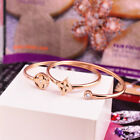 Stainless Steel Rose Gold Clover Crystal Womens Fashion Bangle Bracelet Jewelry