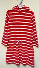 New Morrisons Nutmeg Exstore Girls Towelling Hooded Dress Red Age 4/5 Yrs
