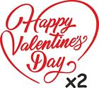 2 Happy Valentine's Day Hearts  Window Stickers Great for Shops, Trade, Florist