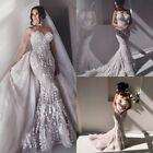 Mermaid Wedding Dresses 2018 Train Floral Lace Bridal Gown with Removable Skirt