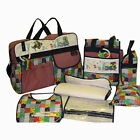 Baby Boy Girl Unisex 7 pcs Polka Dot Diaper Bag Set - LG SM Bags + 2 Key Rattles