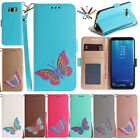 Painted Magnet Card Slot Case Flip Stand Leather Cover For Samsung S7 S8 Plus J3