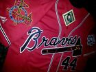 RED Brand New Atlanta Braves #44 Hank Aaron Dual Patch Stitched Majestic Jersey