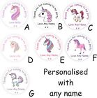 40 Personalised Unicorn Birthday Party bag Thank You Stickers Labels for Girls