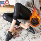 Faux Leather Leggings Cashmere Elastic Trouser Thick Warm Black Pants Plus Size