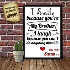 Personalised Present Print greeting poster gift card for Brother Birthday