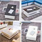 Living Room High Gloss White Coffee Table w/ 2 Drawers Black Tempered Glass Top