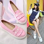 Lolita Women Heart Leather Flats Boats Loafers Girl Slip On Shoes Free P&P Cute