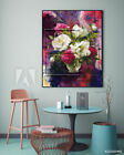 Red Snowy Purple Flower Vase Oil Painting Wall Art Living Room Decor 60 x 80 CM
