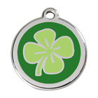 Red Dingo Dog Cat Pet ID Tag Charm FREE Personalized Engraving FOUR LEAF CLOVER