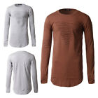 Men Slim Fit Long Sleeve Solid Color Muscle Tee T-shirt Casual Tops Blouse O1593