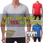 PROCLUB PRO CLUB MEN'S BASIC V NECK T SHIRT PLAIN SHIRTS PLAIN VNECK COTTON TEE image