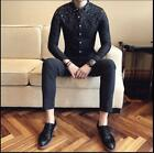 New Chic Youth Men's Long Sleeve Slim Fit Business Dress Shirt Youth Casual Tops