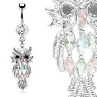Owl Dangle Multicolor Gem Belly Ring Navel Naval (w81)
