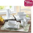 Porcelain Dinnerware Set,16-Piece Microwave-And-Oven-Safe Square Dining- White
