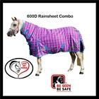 LOVE MY HORSE 3'9 - 4'9 600D Rainsheet Turnout Combo Horse Rug Mini Pink Check