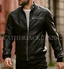 Black Bomber Leather Jacket Genuine sheepskin Harrington Style ST-80