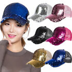 Brown New Cute Summer Womens Baseball Cap Sequins Hat Adjustable